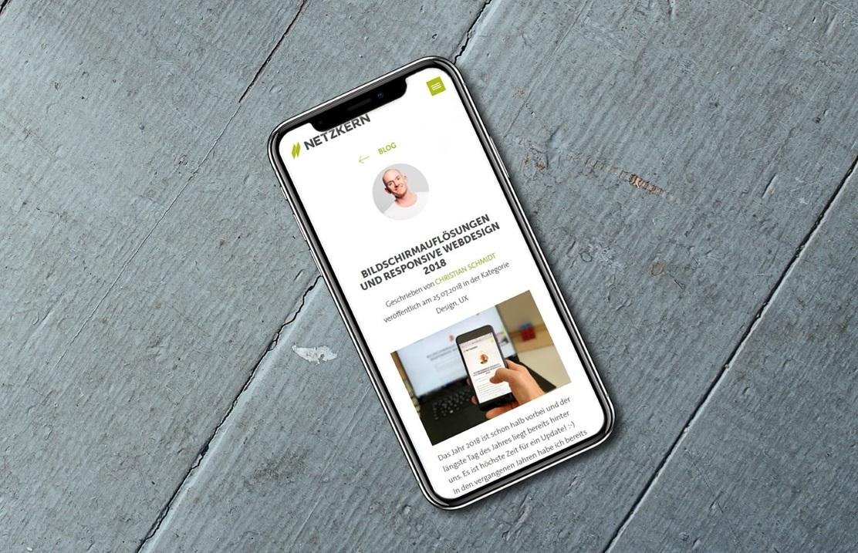 Apple Bildschirmauflösungen - das iPhone X mit einem netzkern Blogbeitrag