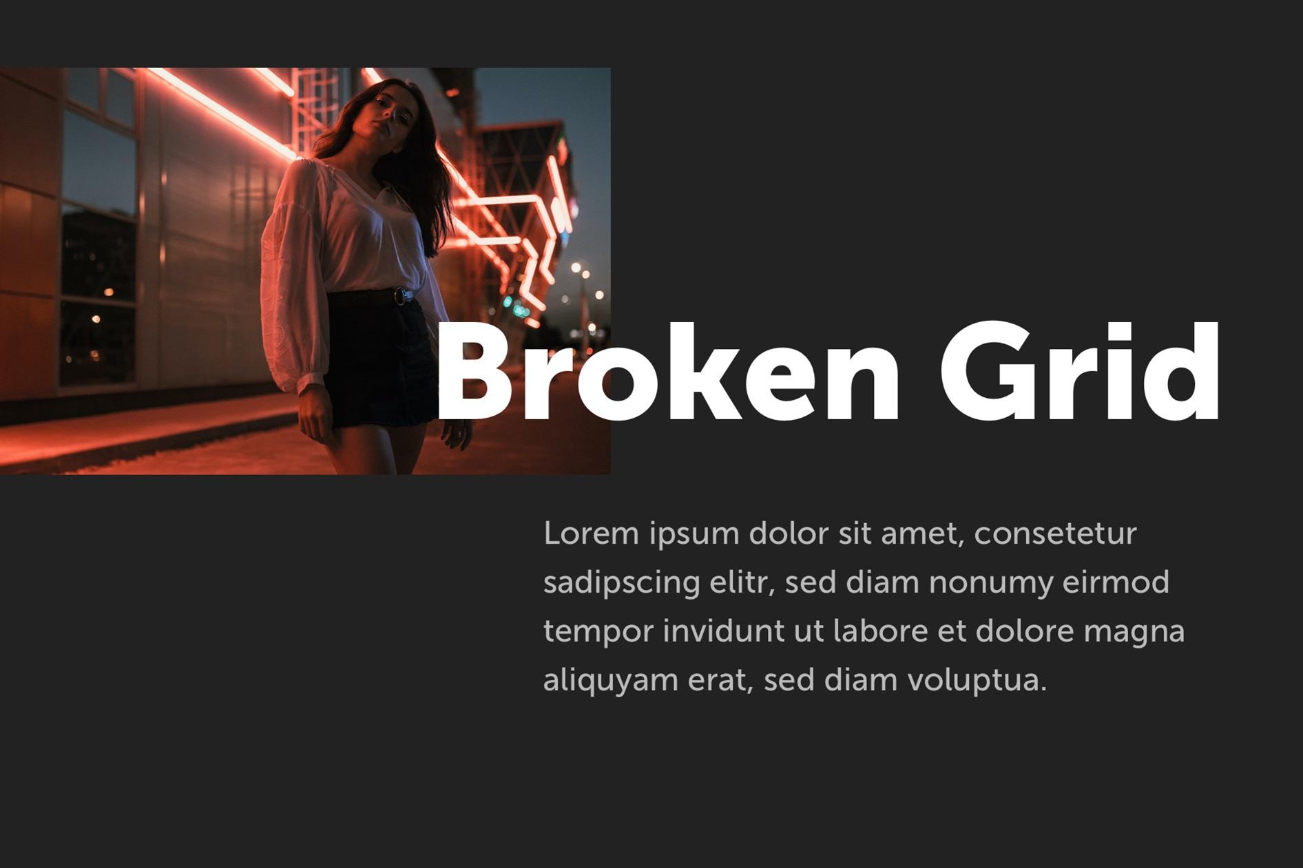 Beispiel für ein Broken Grid Design mit Bild