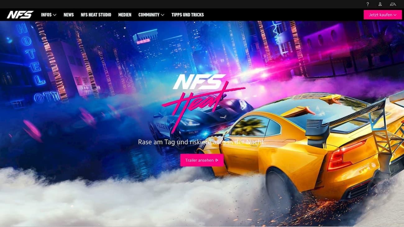 Grelle Akzentfarben bei Need For Speed: Heat