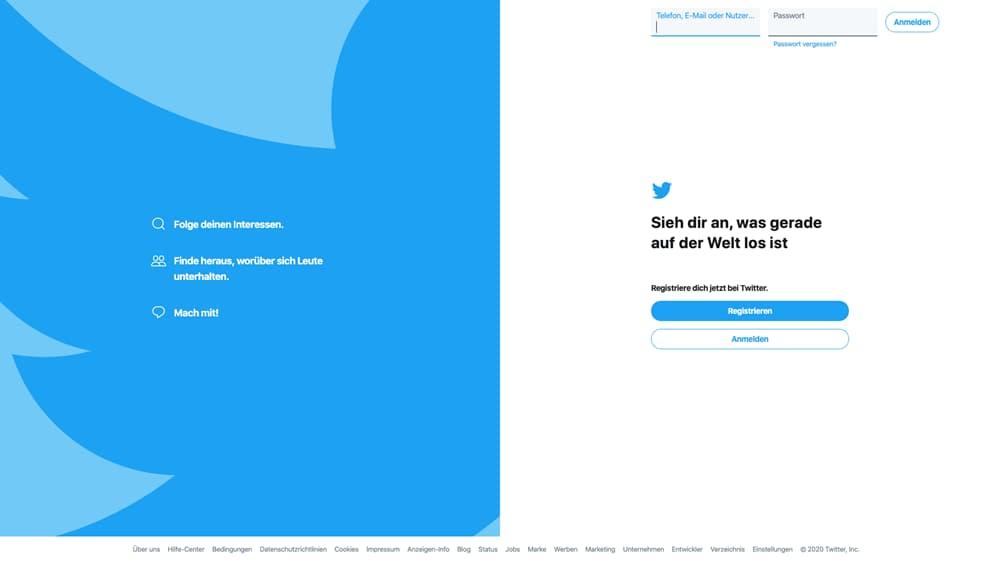 Twitters Startseite mit Anmeldemaske im Split Screen Design