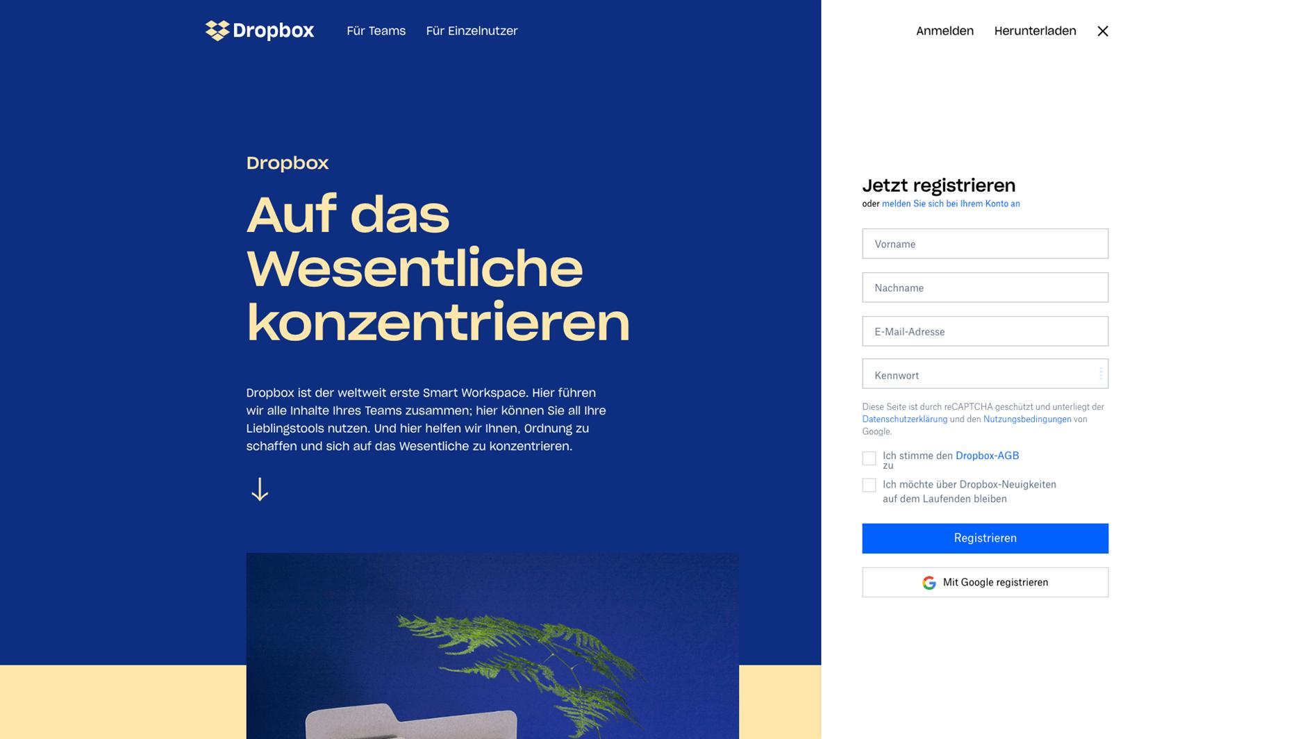 Startseite von Dropbox mit Anmeldemaske im Split Screen Design
