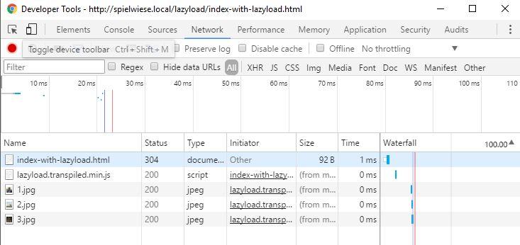 Serveranfragen mit Lazy Loading