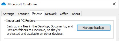 OneDrive Manage Backup