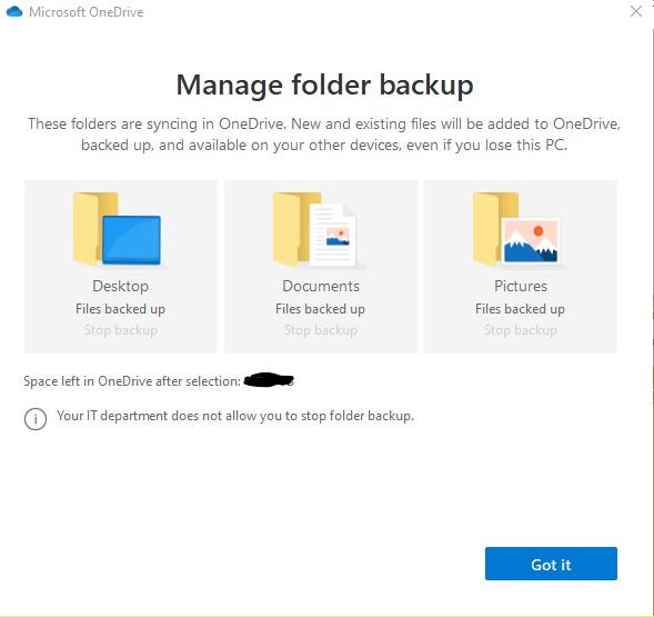 OneDrive Manage Folder Backup