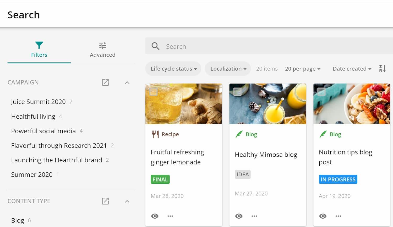 Sitecore Content Hub Campaign Search