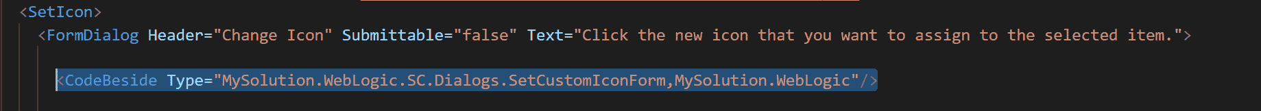 Sitecore Custom Icons Code Beside