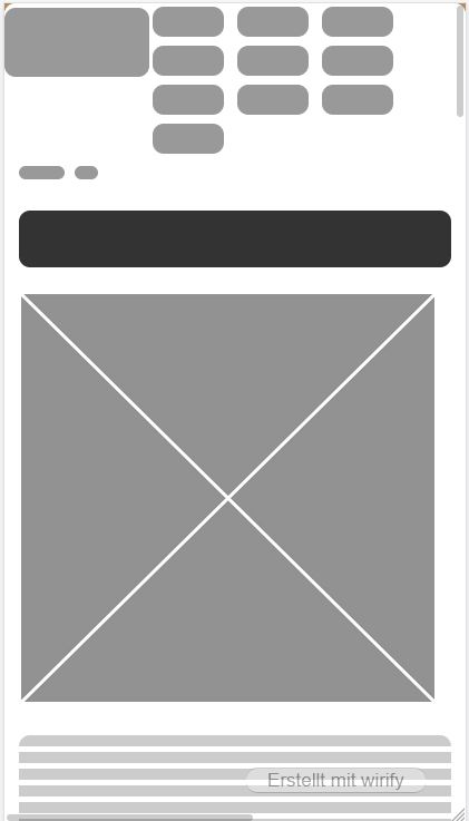 Struktur der Seite via wirify: Logo und Navigation, Breadcrumb, H1, Titelbild, Fließtext.