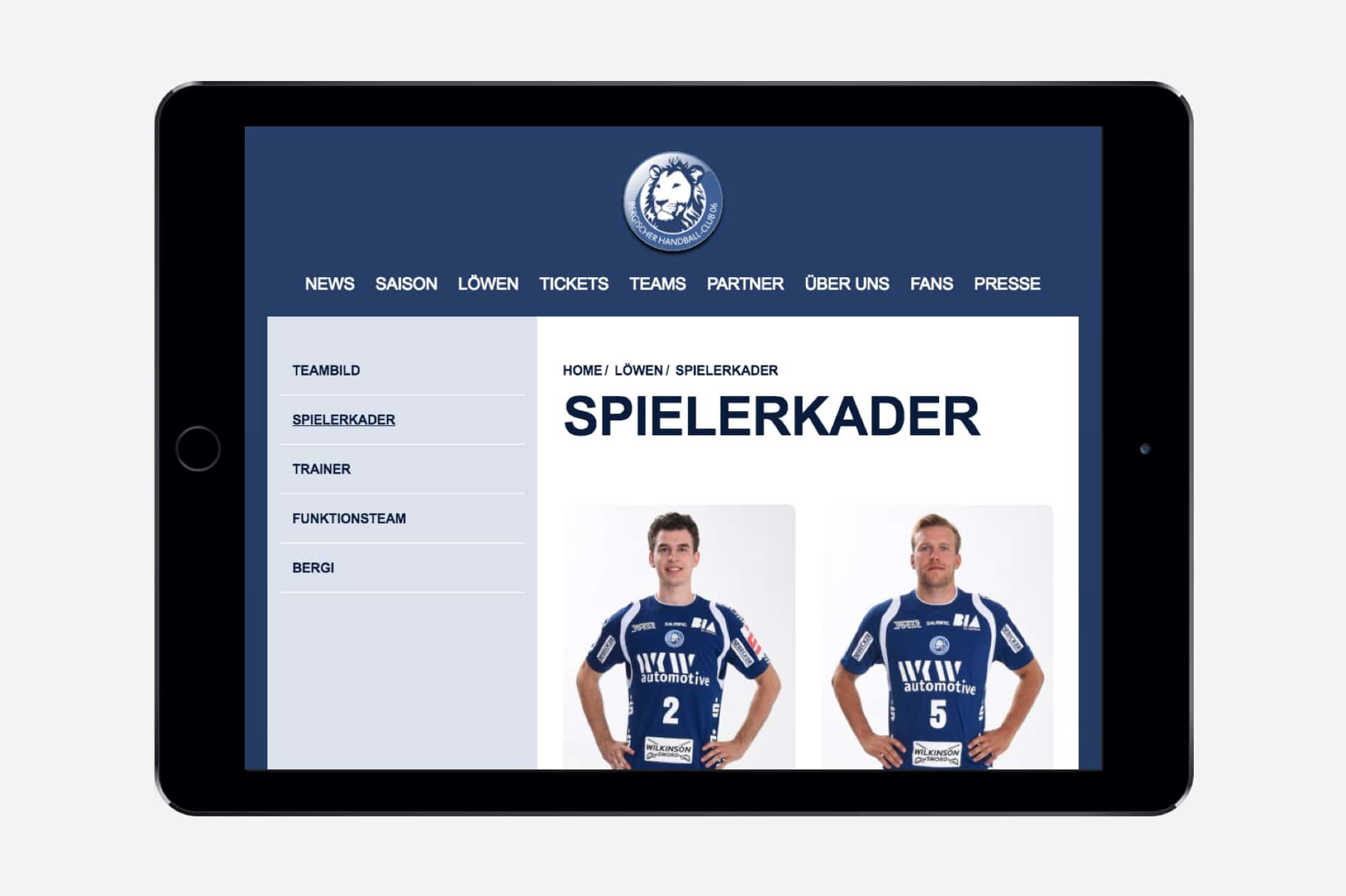 Bergischer Handballclub (BHC) - Tablet