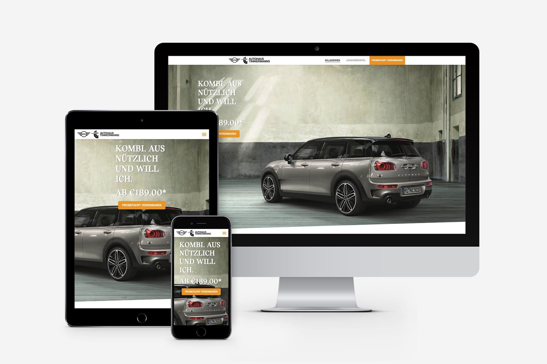 Timmermanns Webpage auf allen Devices