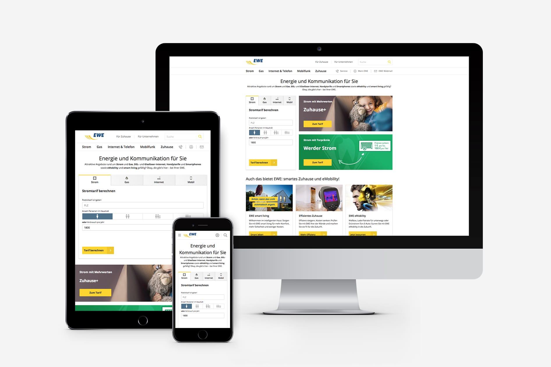 EWE Website auf allen Geräten