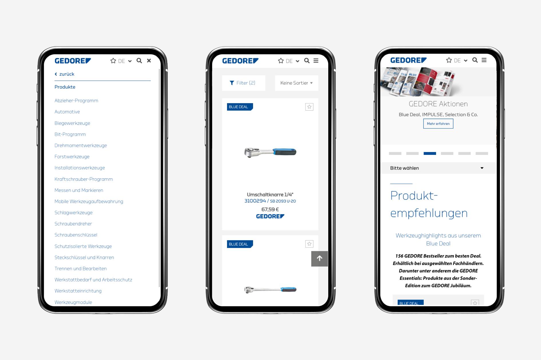 Gedore Website auf Smartphone