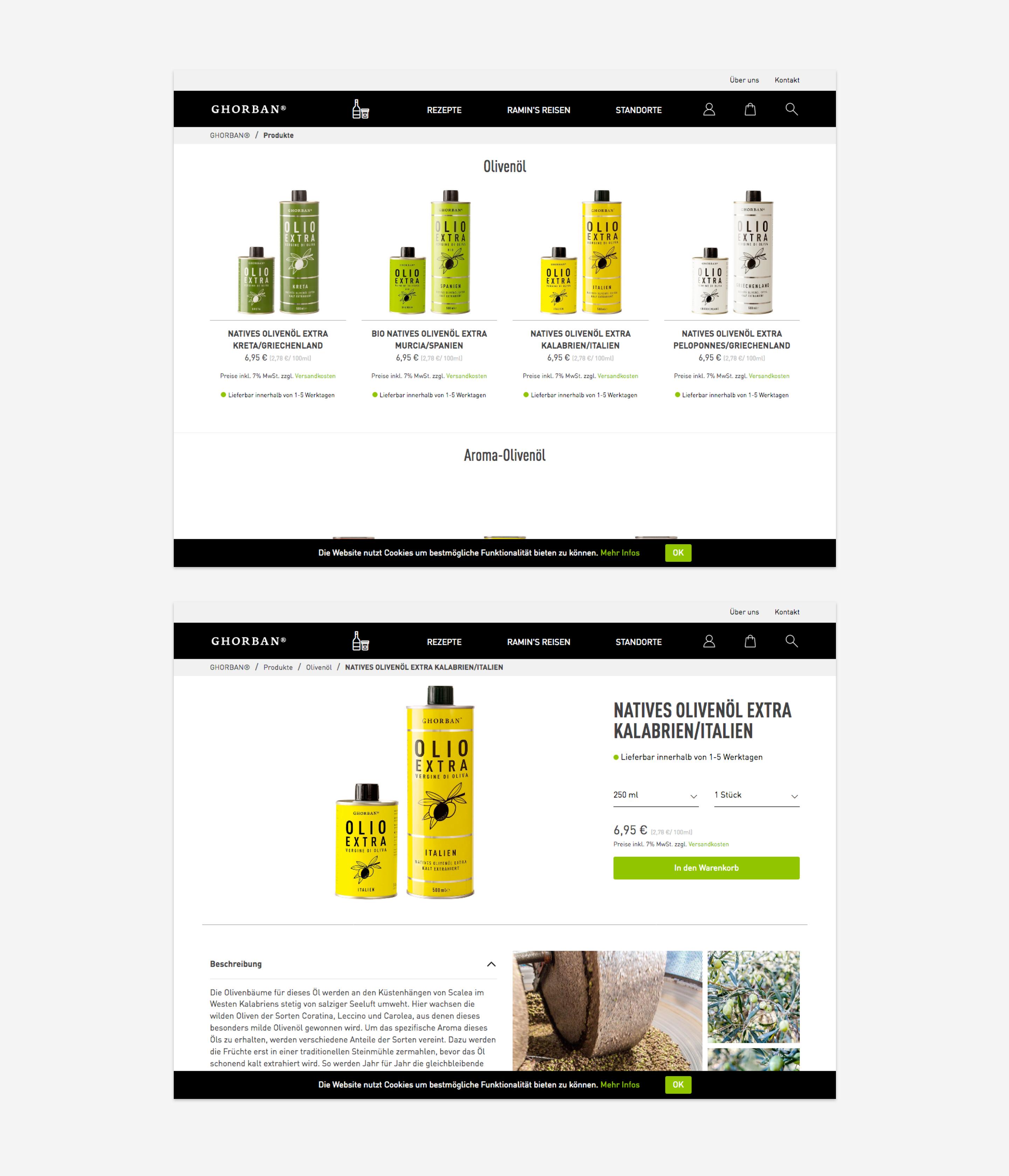 Ghorban - Kategorie- und Produktseite