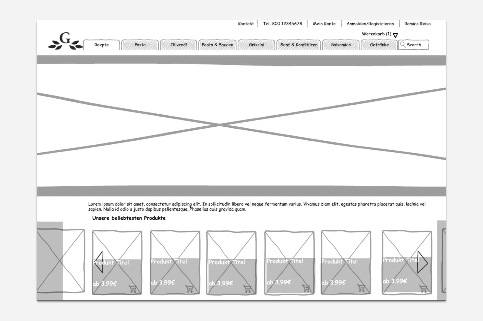 Ghorban - Wireframe Startseite