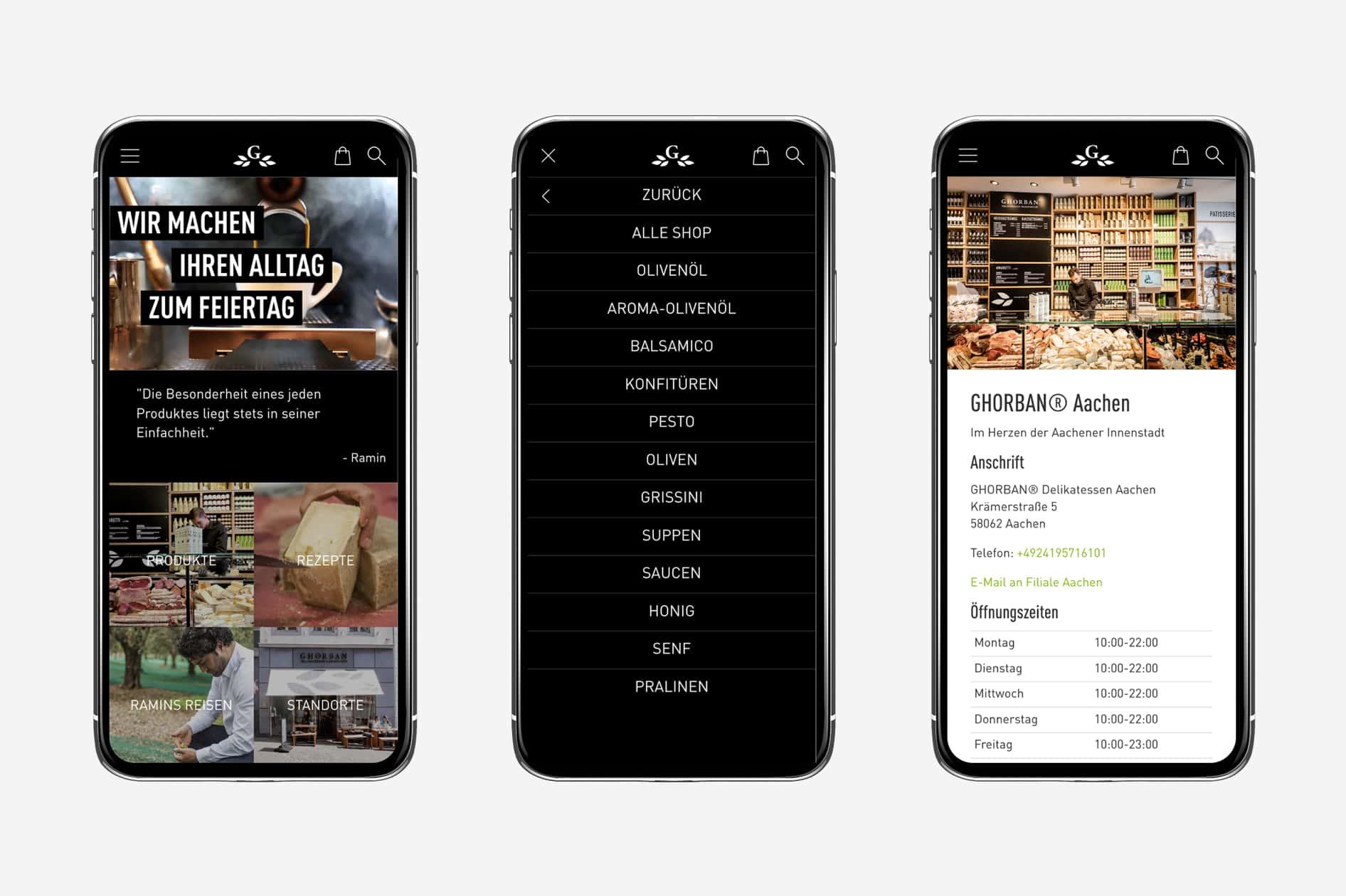 Ghorban - Website auf Smartphone
