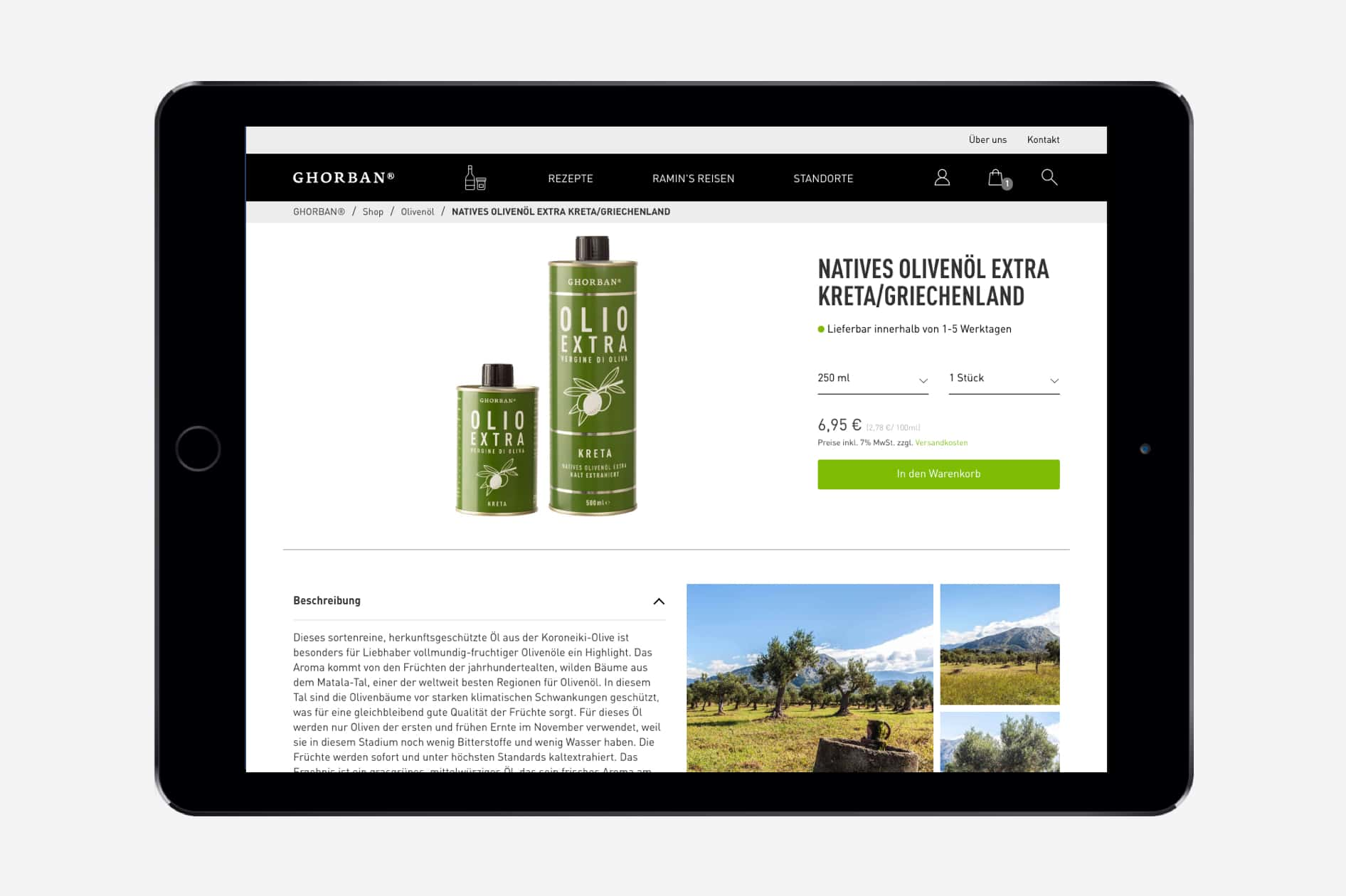 Ghorban - Produktseite auf Tablet