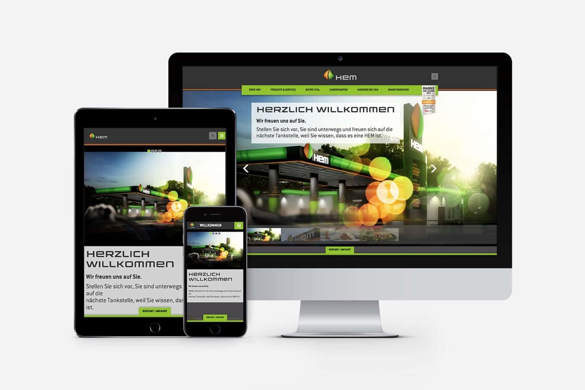 HEM Website auf verschiedenen Geräten