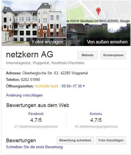 Bewertungen aus dem Web bei Google