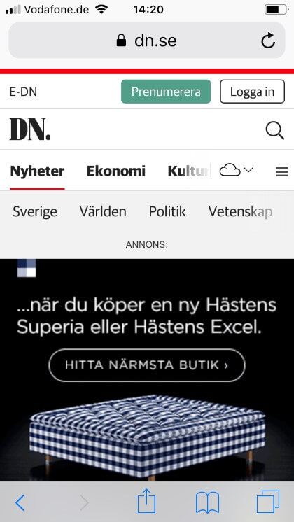 Progressives Menu bei dn.se