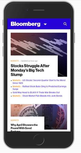Dropdown Menu bei Bloomberg