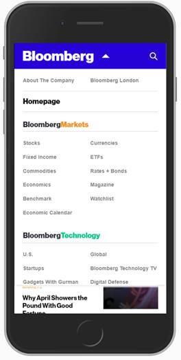 Dropdown Menu bei Bloomberg ausgeklappt