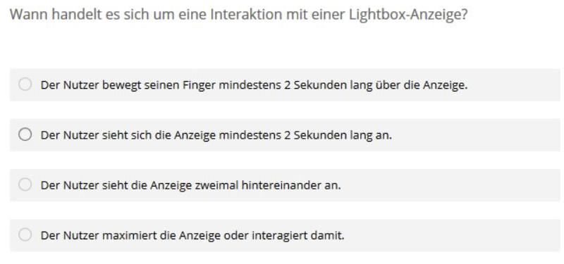 Was ist eine Lightbox-Anzeige? Antwortoptionen bitte mal durchspielen...