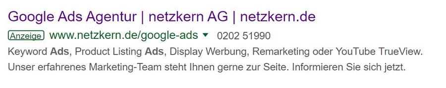 Google Ads Agentur netzkern - Beispiel Search Ad