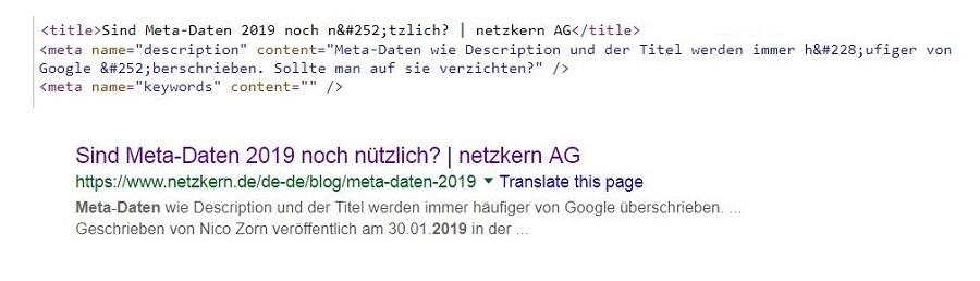 Metadaten dieser Seite - Title und Description - mit Google Suchergebnis