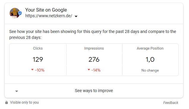Google Search Console Resultat auf der Suchergebnisseite