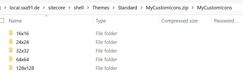 ZIP Ordner mit Bildgrößen für Sitecore Custom Icons