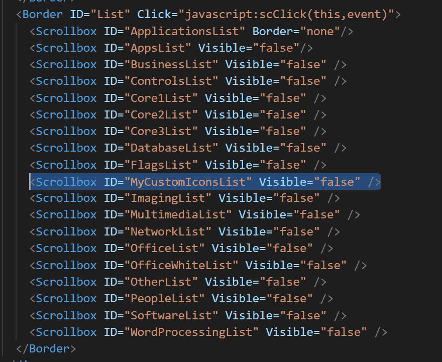 XML bearbeiten für Custom Icons für Sitecore