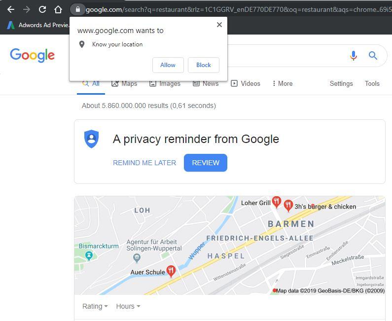 Google Aufforderung den Standort zu lesen