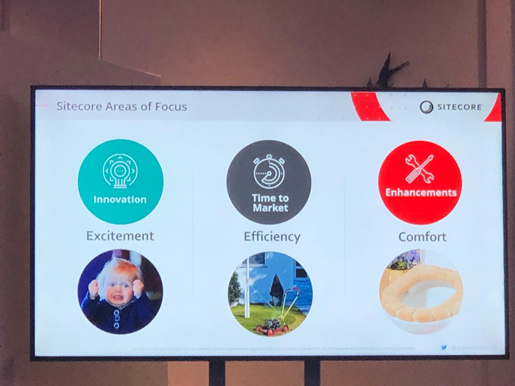 """Die Konferenz endete mit der Vorstellung von Sitecore 9.2 durch Pieter Brinkman, der sich in seinem Vortrag auf die drei Bereiche """"Excitement"""", """"Efficiency"""" und """"Comfort"""" konzentrierte."""