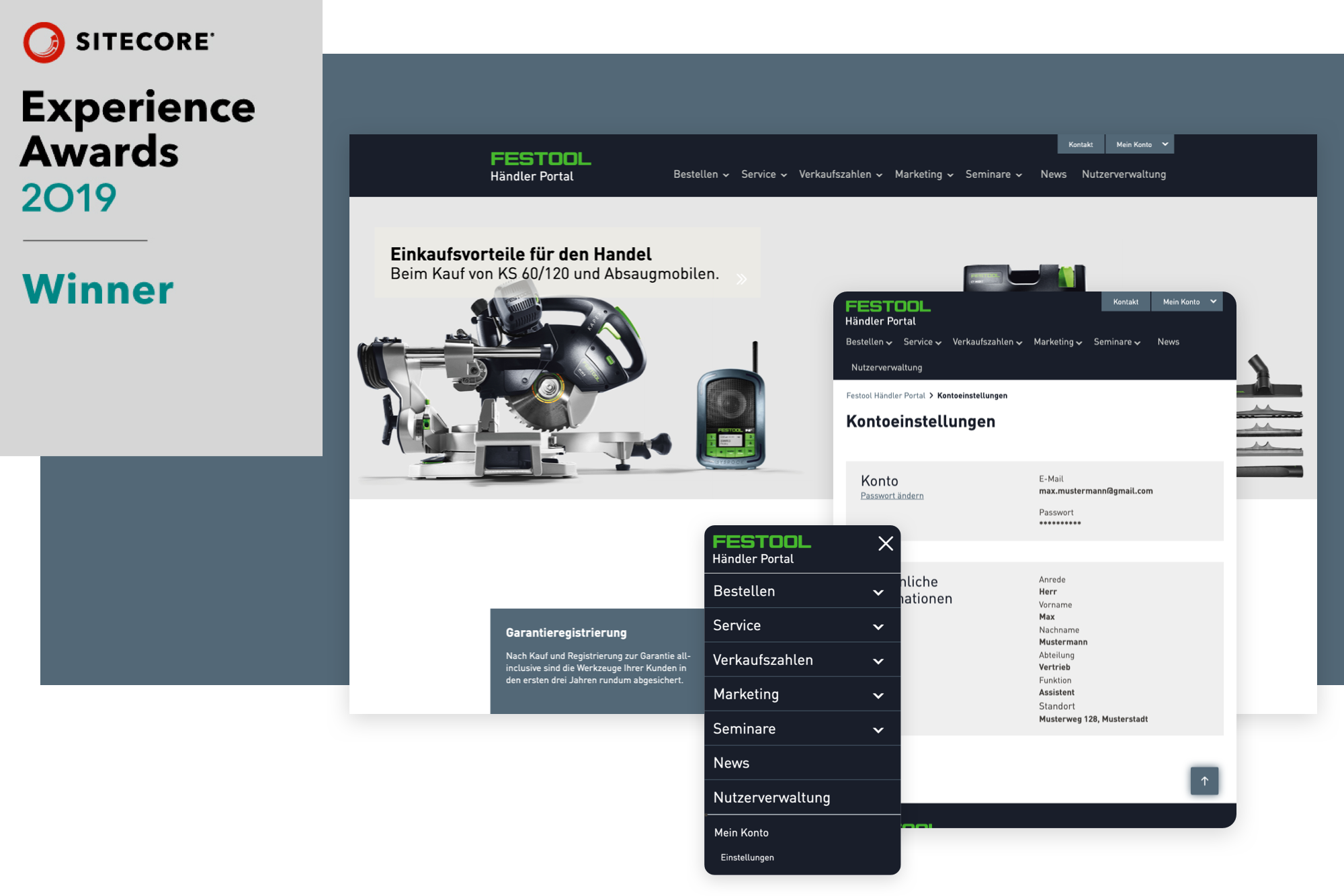 Sitecore Experience Award 2019 netzkern und Festool